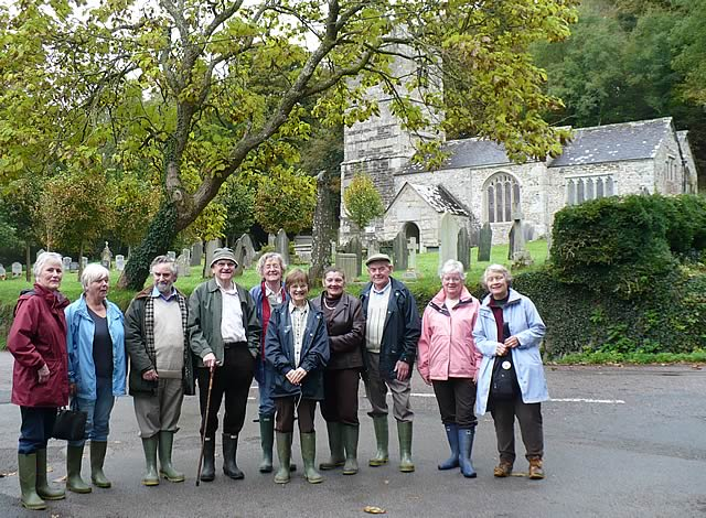A core group of volunteers off to the garden for a woodland tutorial led by Peter Webb.